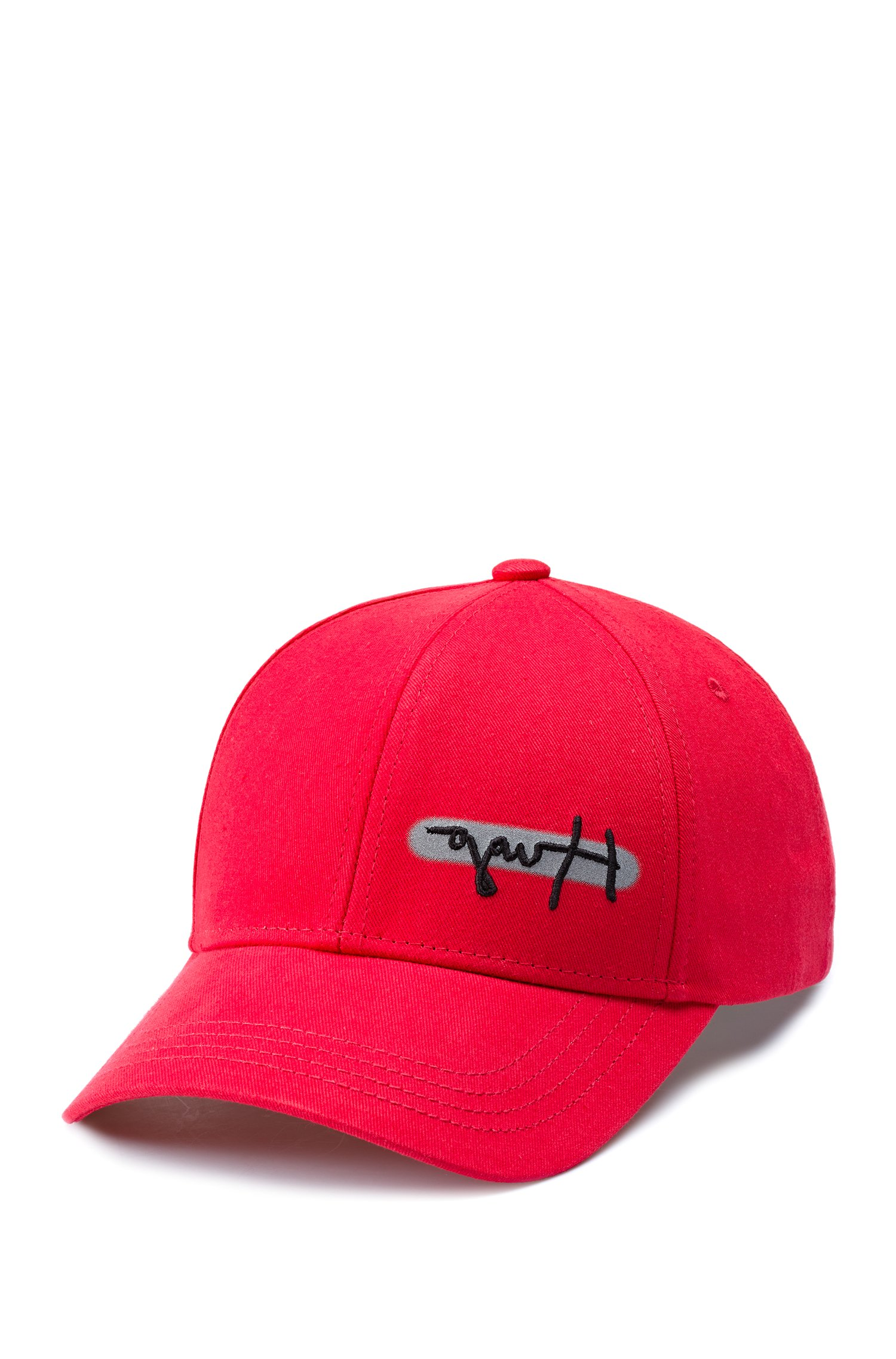 Cotton-twill logo cap with reflective spray print, Red