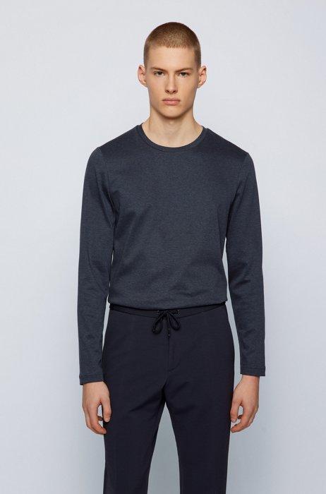 Slim-fit T-shirt in double-knit mercerized cotton, Dark Blue