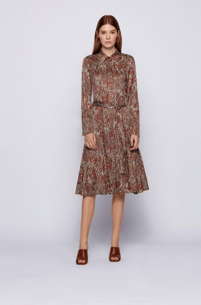 Crocodile-print shirt dress with detachable belt
