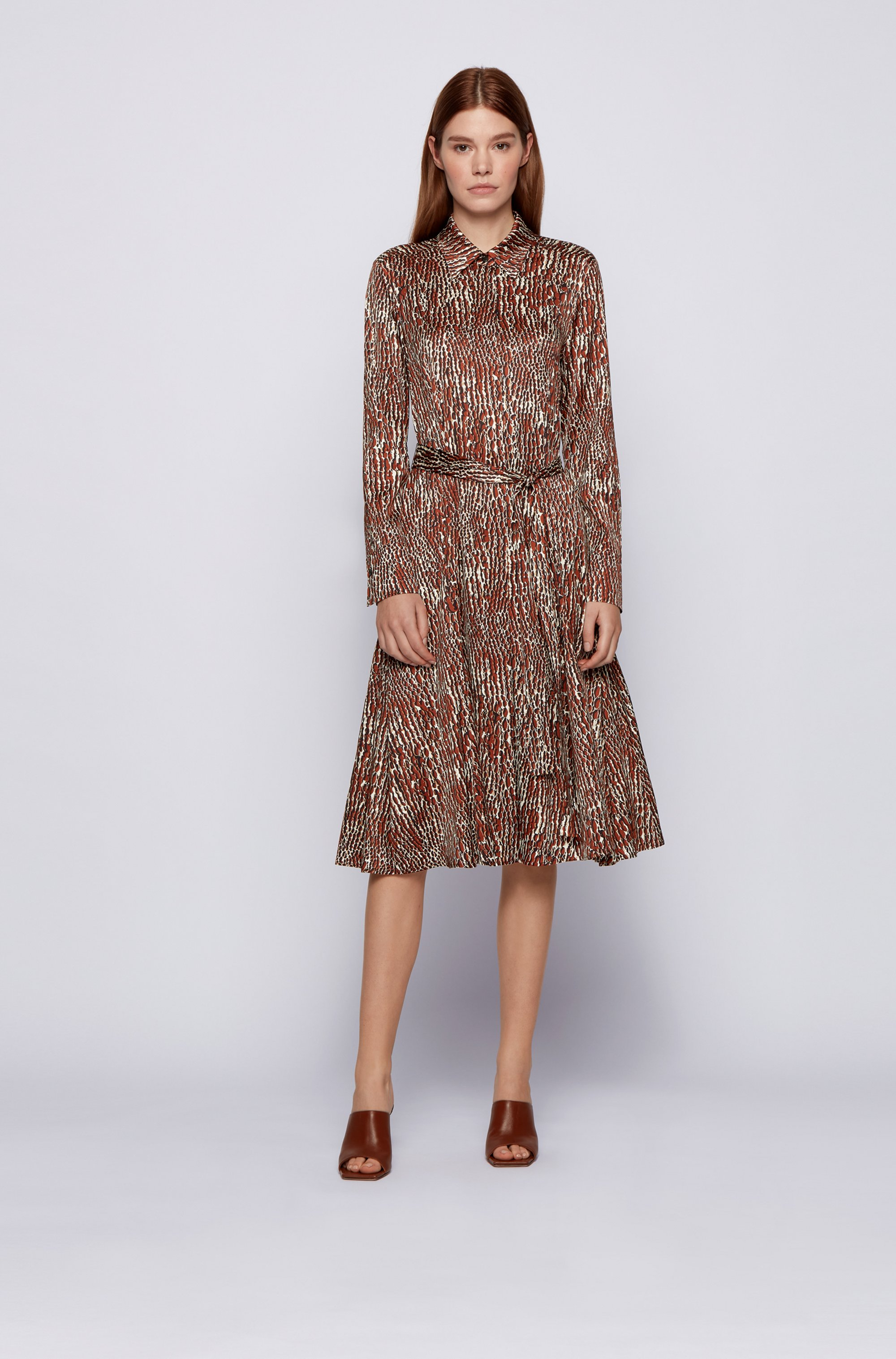 Crocodile-print shirt dress with detachable belt
