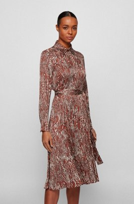 Crocodile-print shirt dress with detachable belt, Patterned