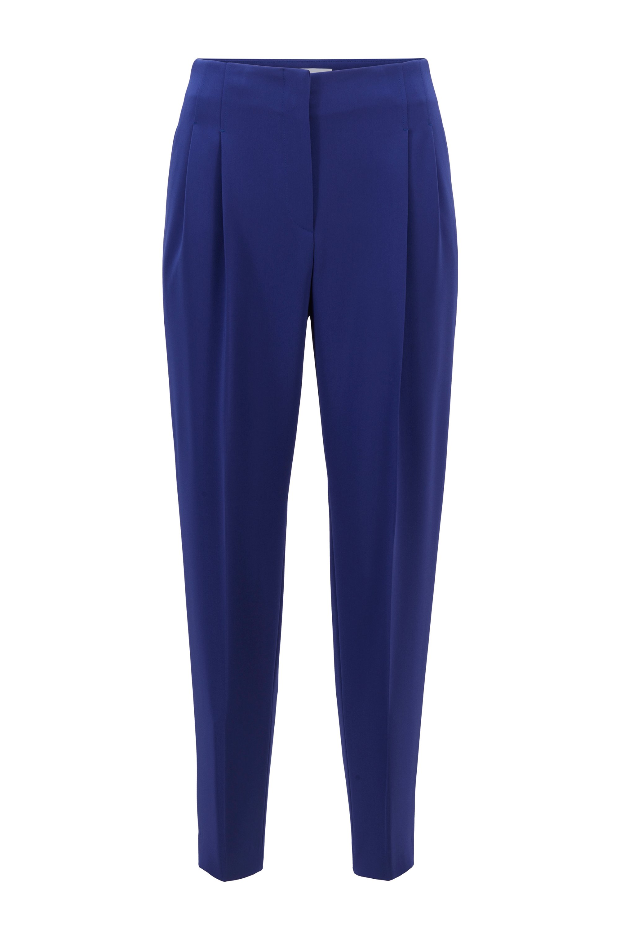 Cropped regular-fit trousers in Japanese stretch crepe, Blue