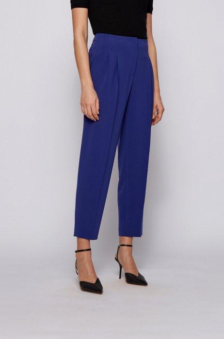 Regular-Fit Hose aus japanischem Stretch-Krepp in Cropped-Länge, Blau