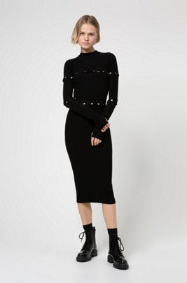 Multi-way knitted midi dress with polished stud detailing, Black