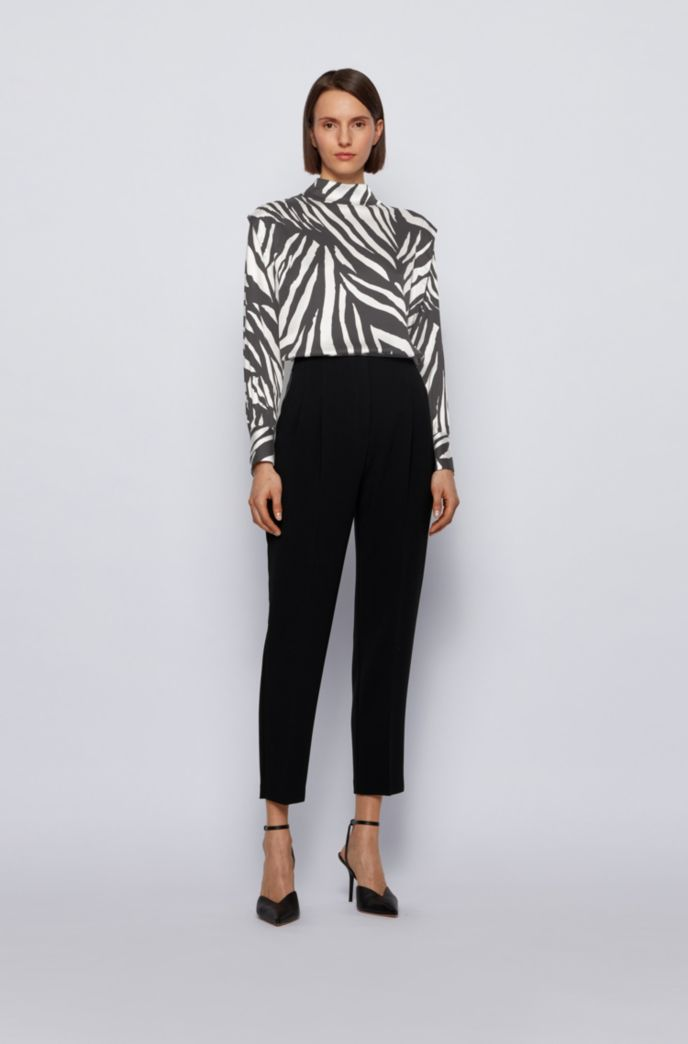 Relaxed-fit zebra-print top with shoulder pleats
