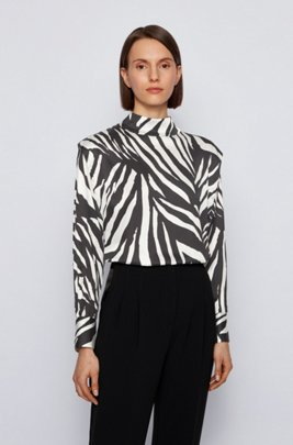 Relaxed-fit zebra-print top with shoulder pleats, Patterned