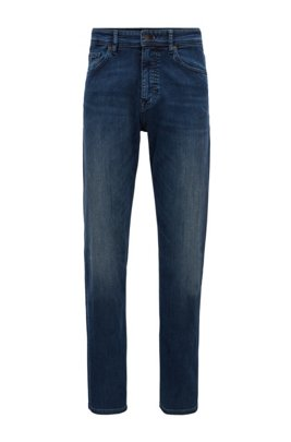 Relaxed-fit jeans in dark-blue super-stretch denim, Dark Blue
