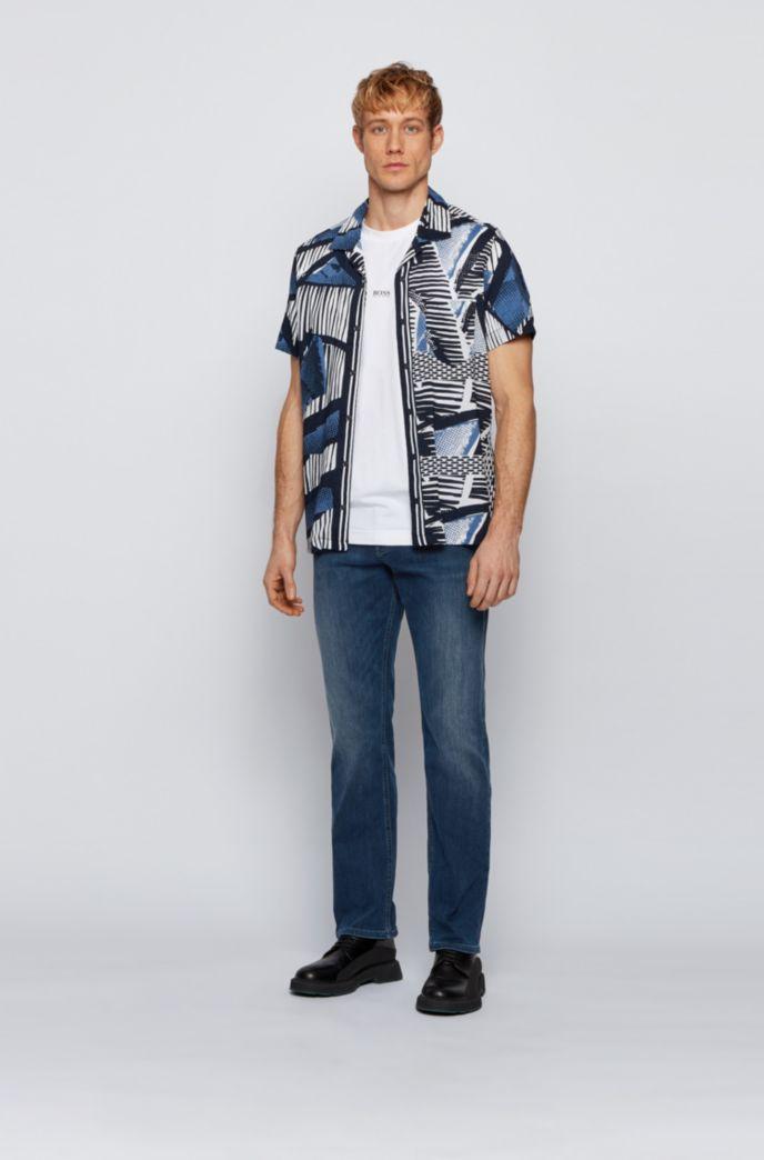 Relaxed-fit jeans in dark-blue super-stretch denim