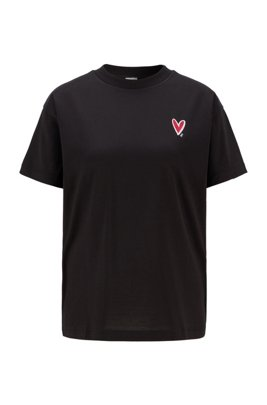 Relaxed-fit T-shirt with heart embroidery and Swarovski® crystals, Black