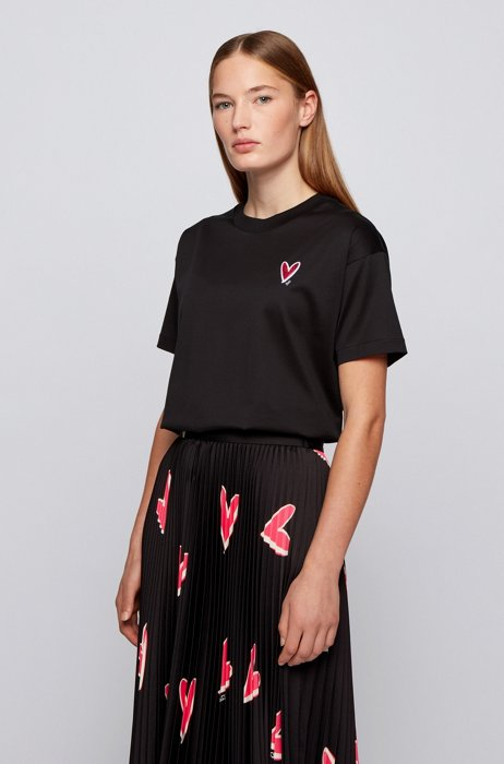 Relaxed-fit T-shirt with heart embroidery and crystals, Black