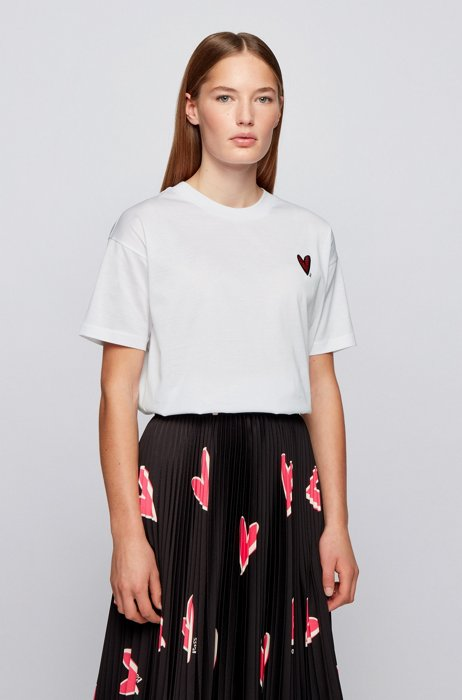 Relaxed-fit T-shirt with heart embroidery and crystals, White