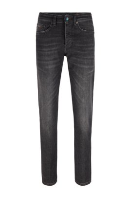 Black super-stretch tapered-fit jeans with iridescent trims, Dark Grey