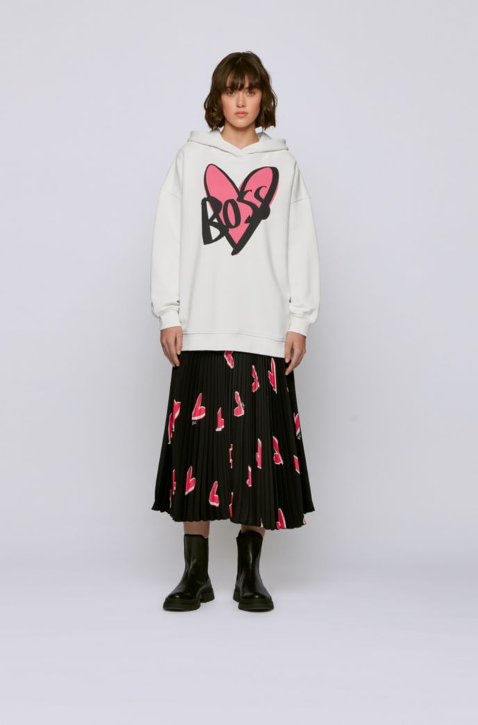 Relaxed-fit hooded sweatshirt with heart and logo print