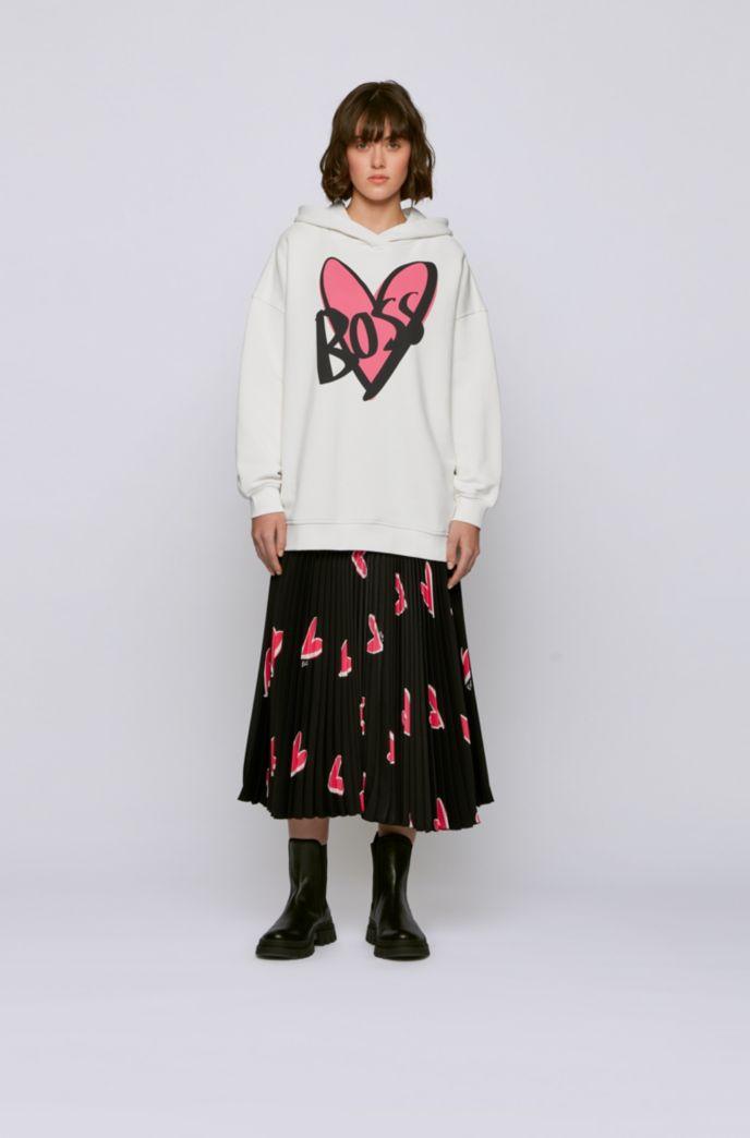 Sudadera relaxed fit con capucha y estampado de corazón con logo