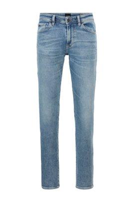 Regular-fit jeans in used-effect blue stretch denim, Light Blue