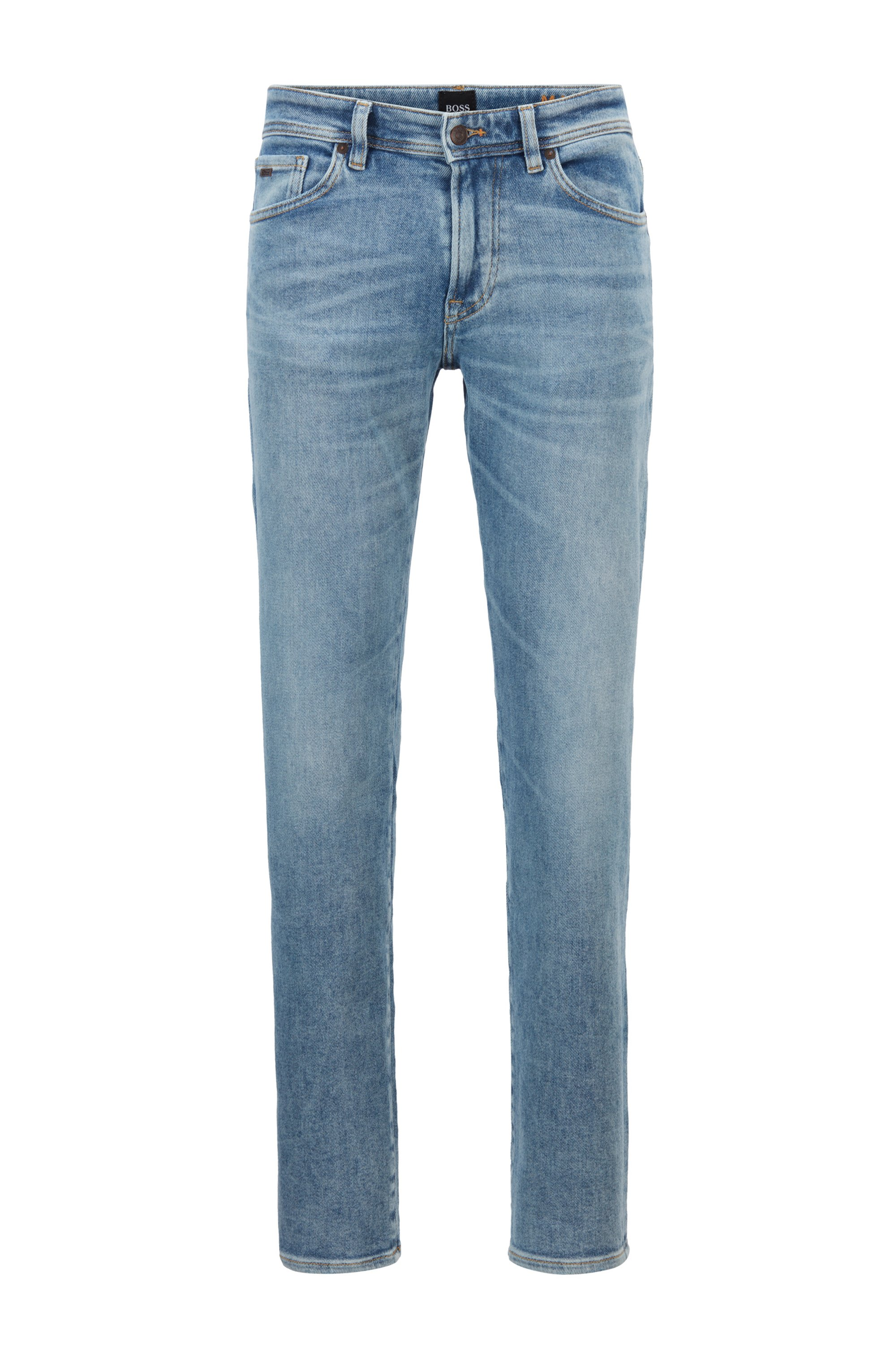 Regular-fit jeans in used-effect blue stretch denim, Light Blue