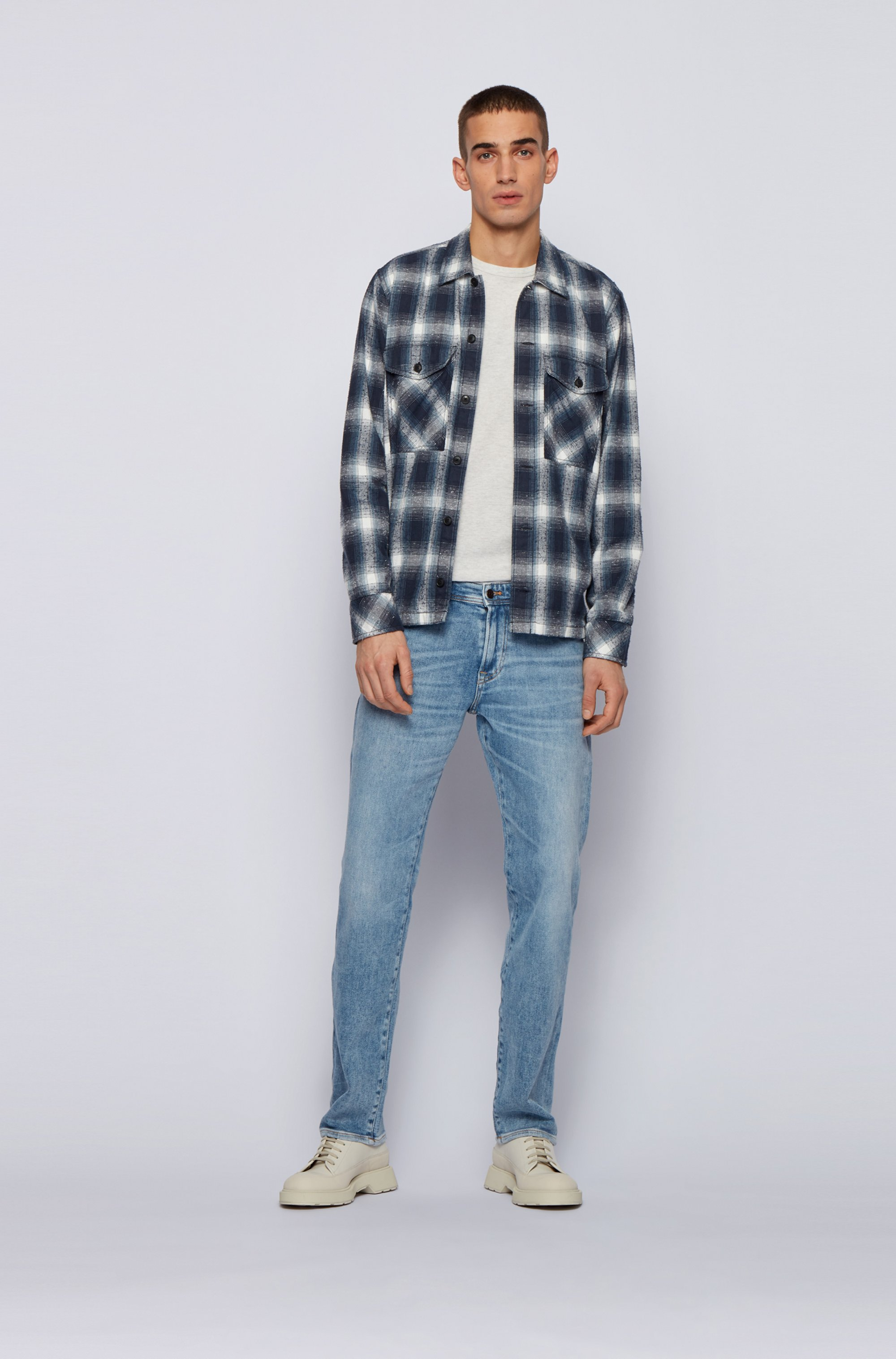 Regular-fit jeans in used-effect blue stretch denim