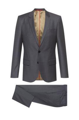 Patterned slim-fit suit in a virgin-wool blend, Grey