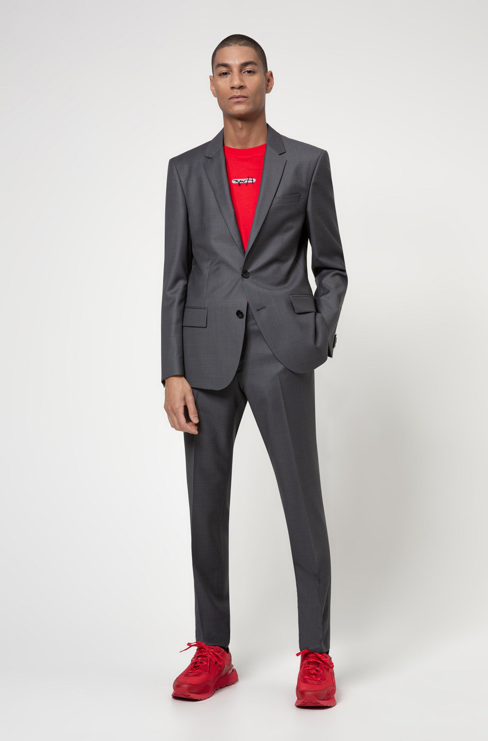 Patterned slim-fit suit in a virgin-wool blend