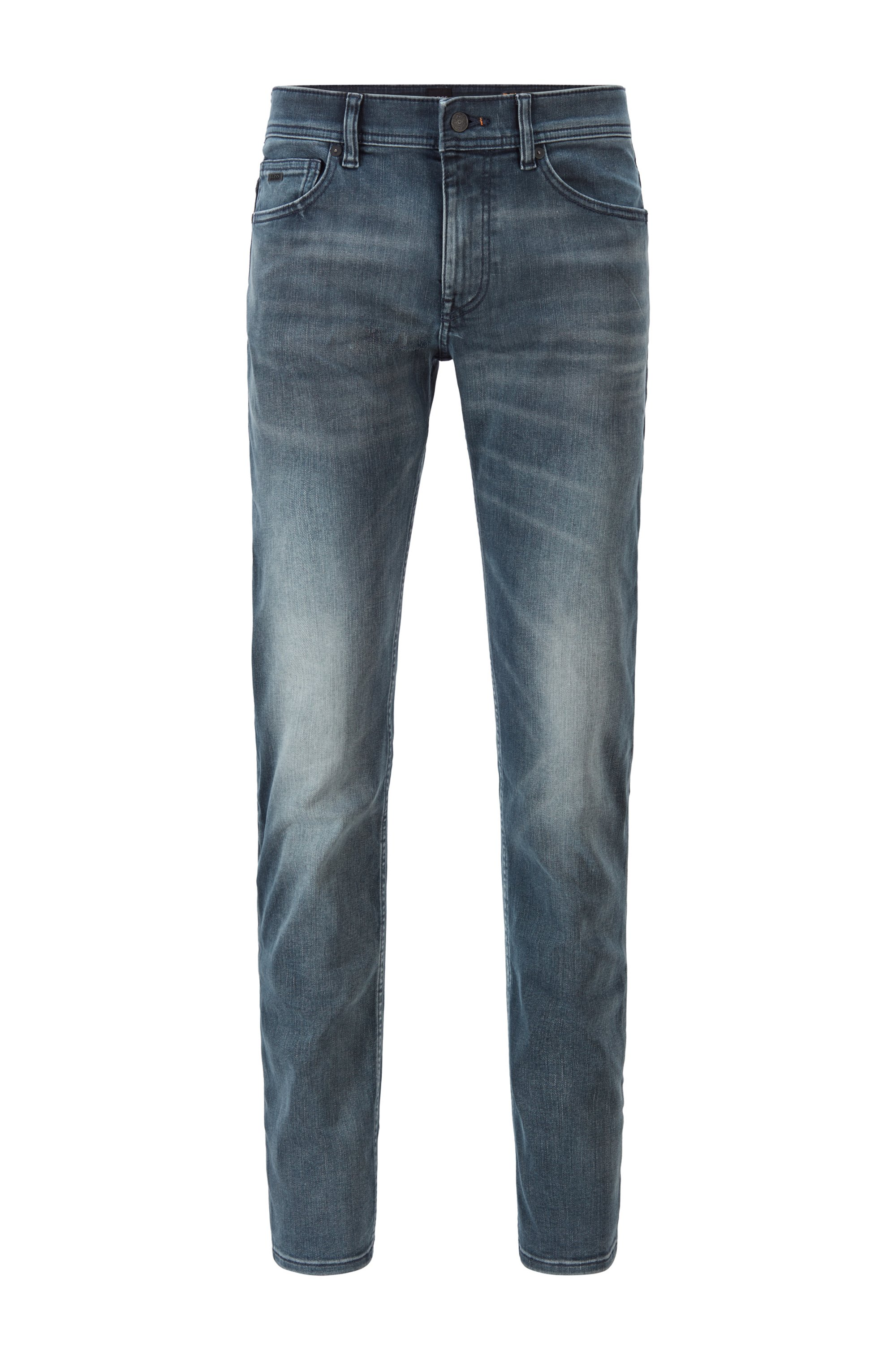Slim-fit jeans in super-stretch denim with used effects, Grey