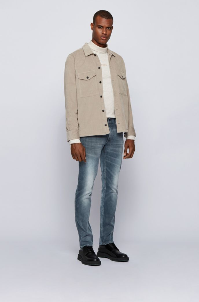 Slim-fit jeans in super-stretch denim with used effects