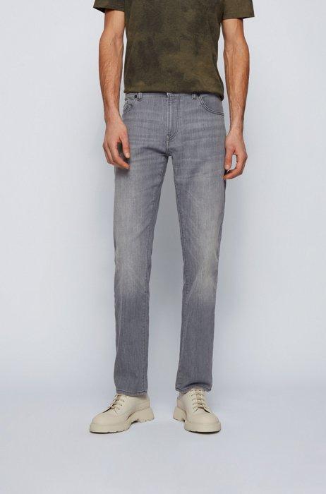 Regular-fit jeans in light-grey super-stretch denim, Grey