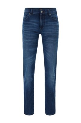 Skinny-fit jeans in overdyed dark-blue knitted denim, Dark Blue