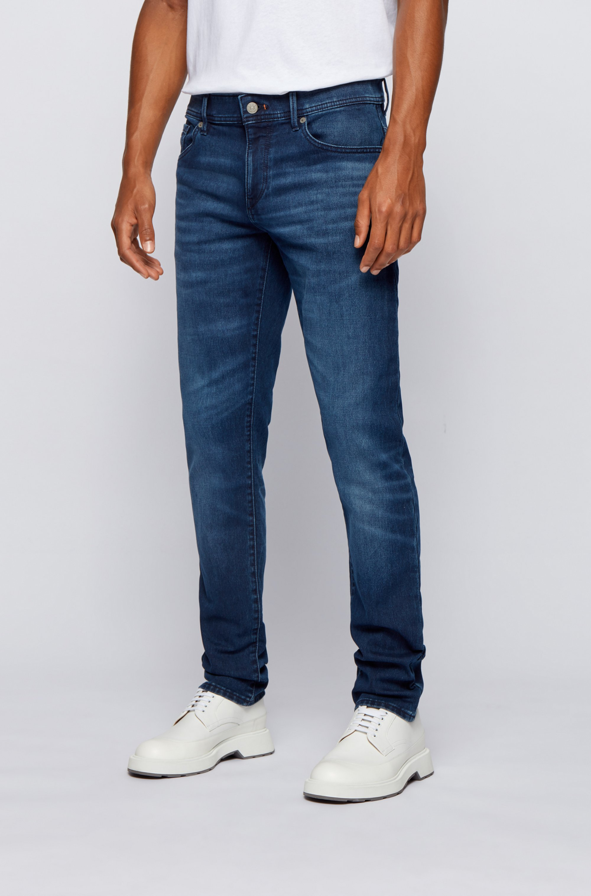 Skinny-fit jeans in overdyed dark-blue knitted denim