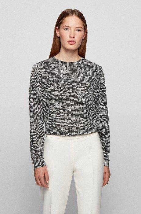 Top mit U-Ausschnitt, Knöpfen an der Schulter und Print im Zebra-Look, Gemustert