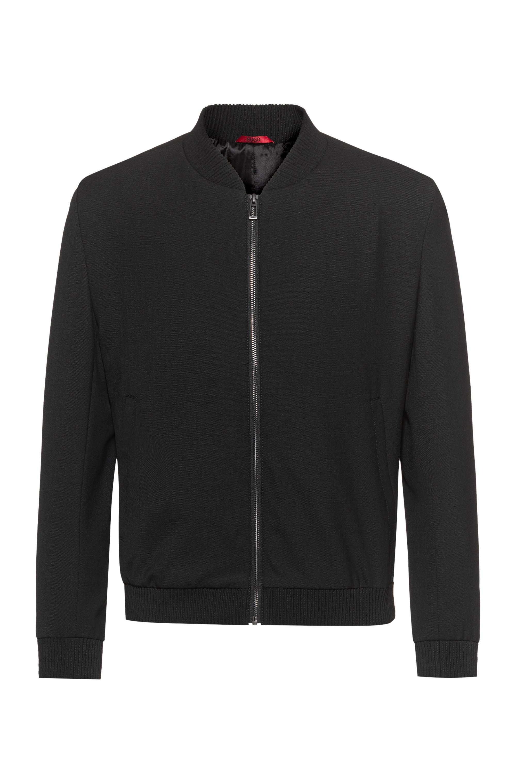 Extra-slim-fit bomber-style jacket in super-flex fabric, Black