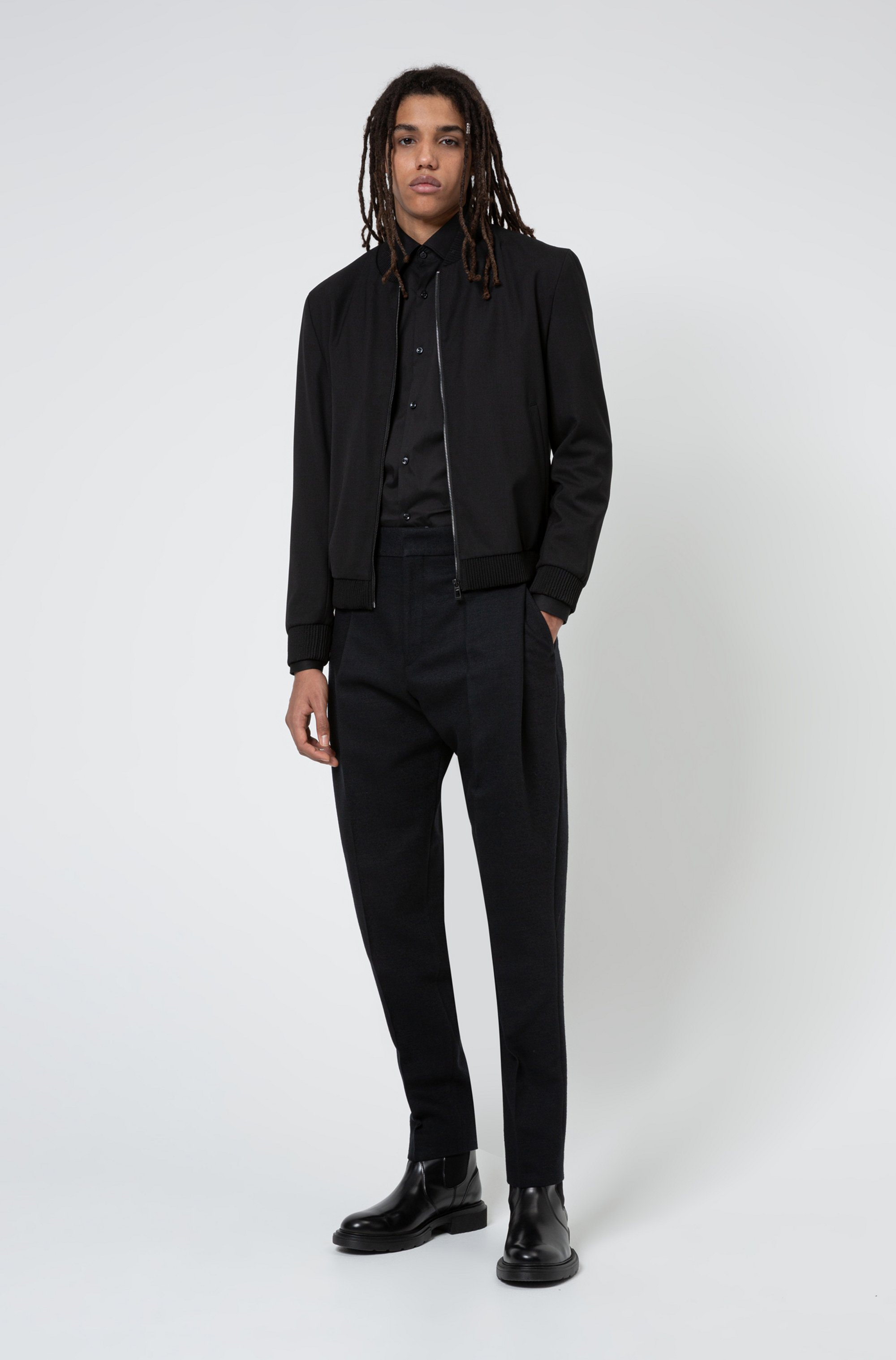 Extra-slim-fit bomber-style jacket in super-flex fabric