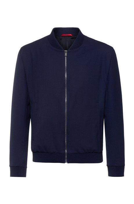 Extra-slim-fit bomber-style jacket in super-flex fabric, Dark Blue