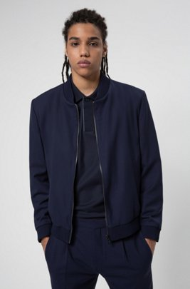 Extra-slim-fit bomber-style jacket in super-flex fabric, Dark Blue