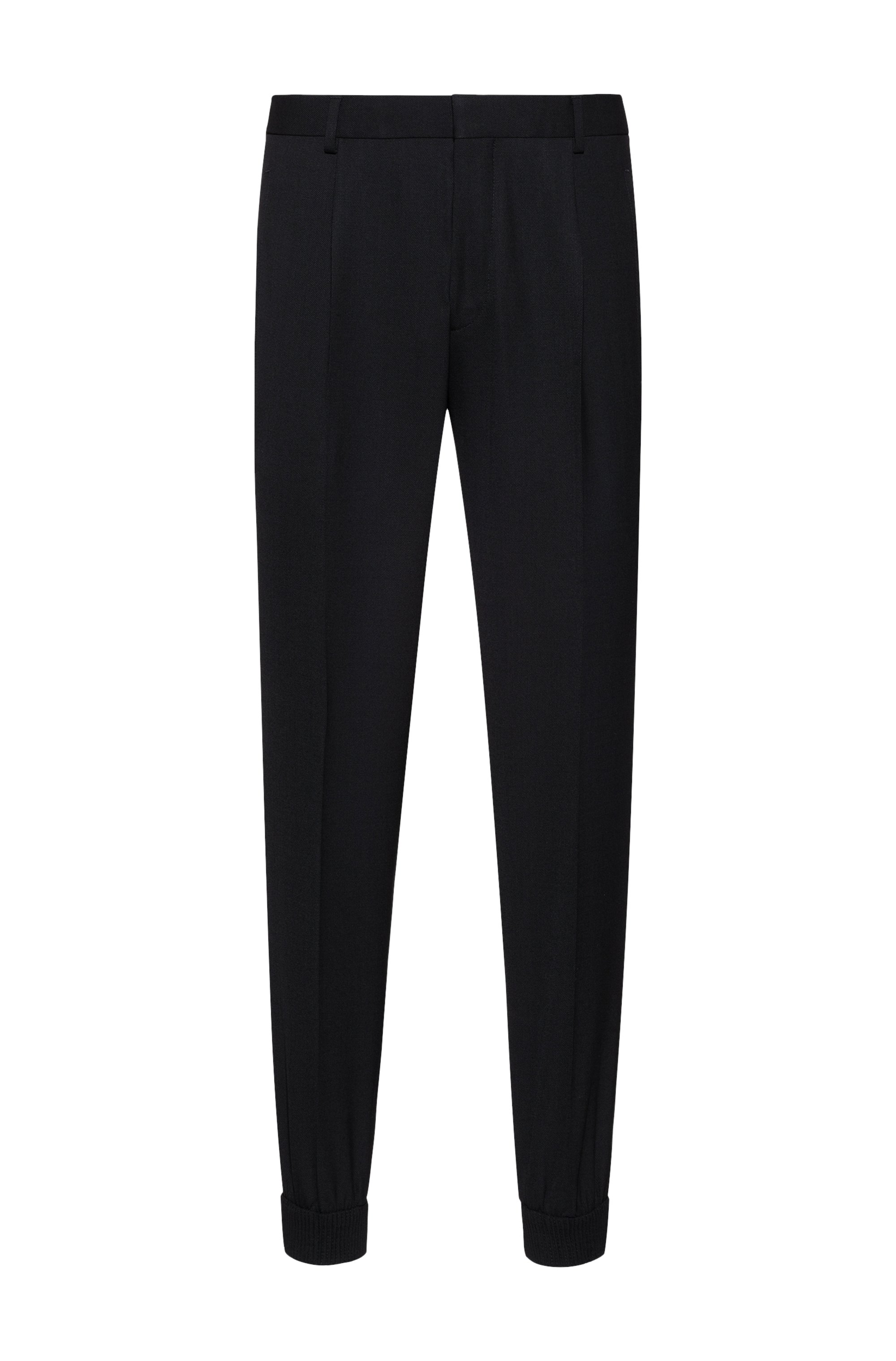 Cuffed extra-slim-fit trousers in super-flex fabric, Black