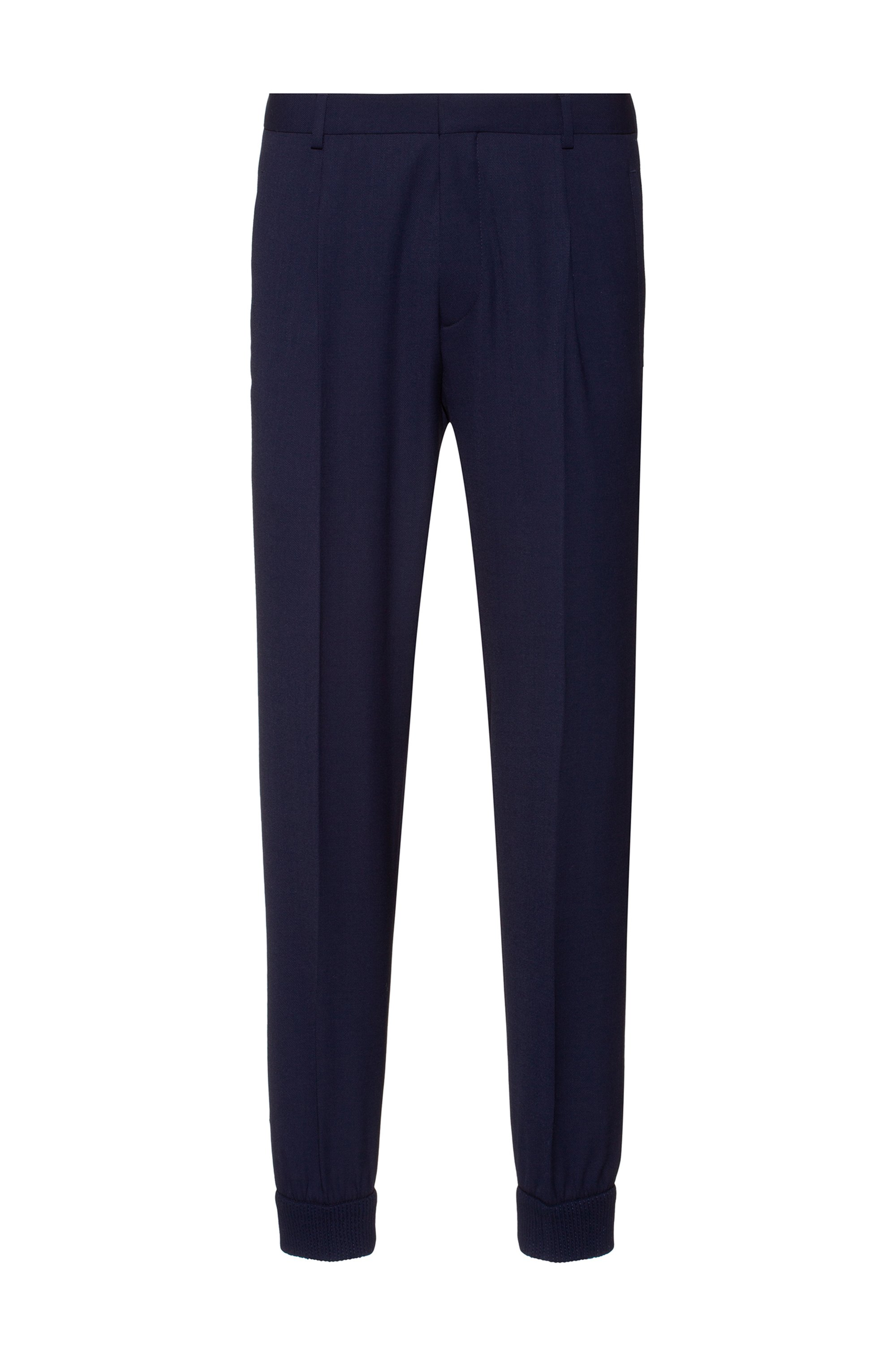 Cuffed extra-slim-fit trousers in super-flex fabric, Dark Blue