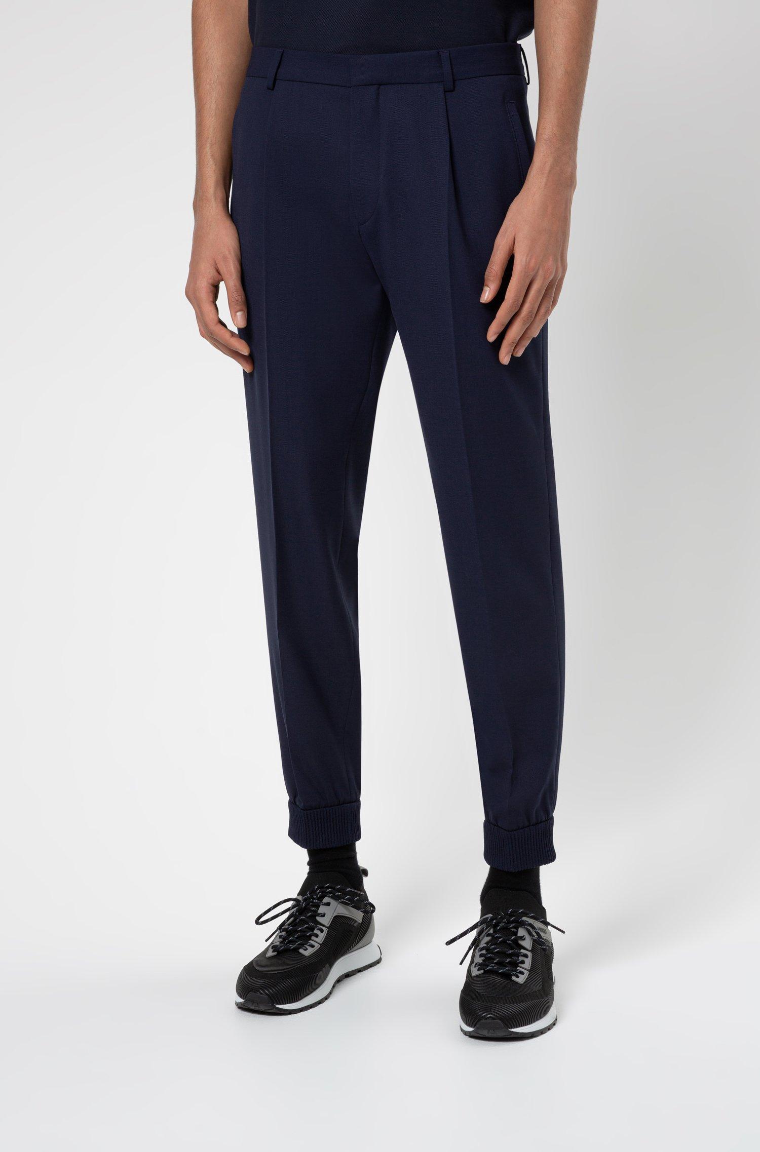 Cuffed extra-slim-fit trousers in super-flex fabric, Dark Blue