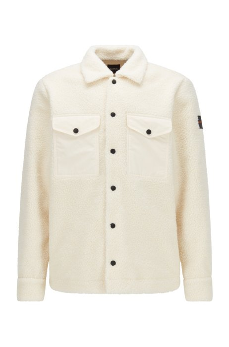 Oversized-fit overshirt in faux-fur teddy, White