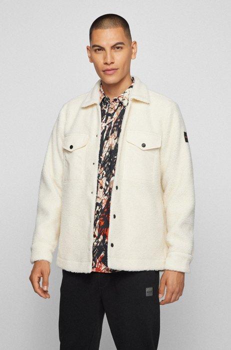 オーバーサイズフィット オーバーシャツ フェイクファーテディ, ホワイト