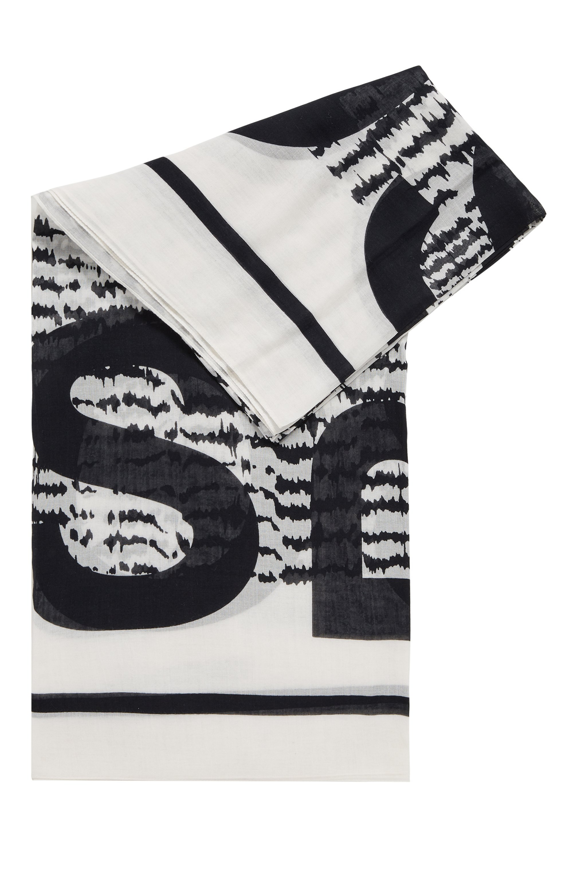 Square scarf in printed modal and cotton, Black