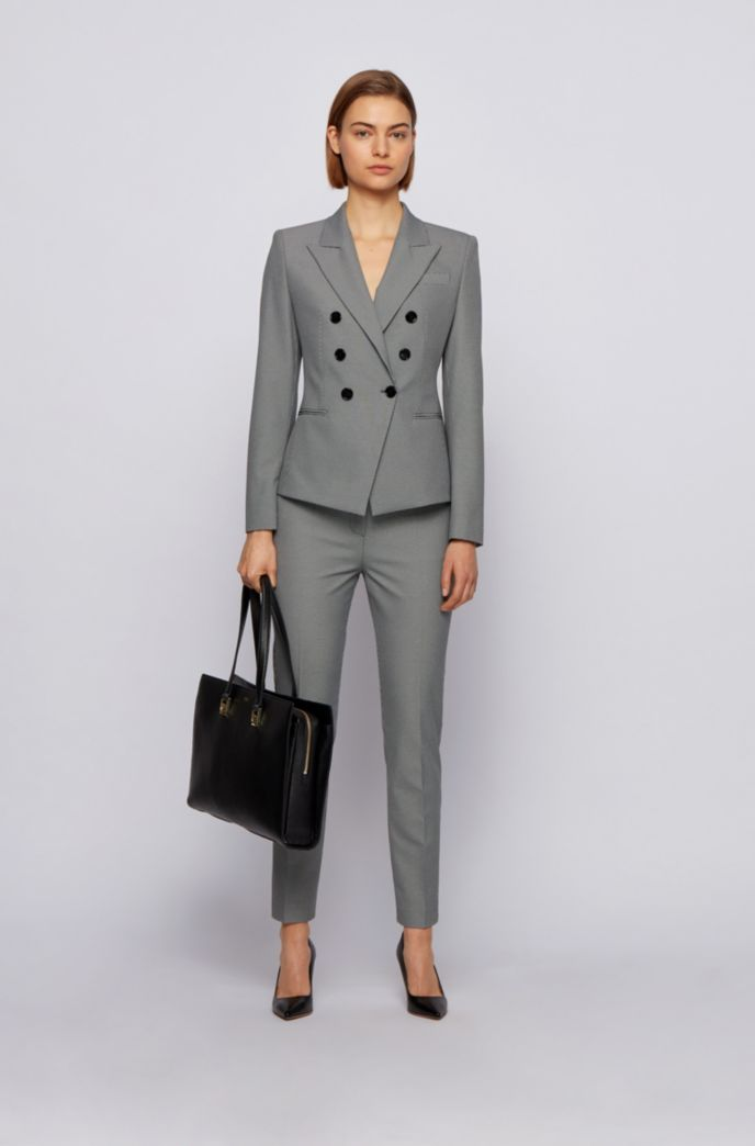 Cropped slim-fit trousers in micro-houndstooth stretch fabric