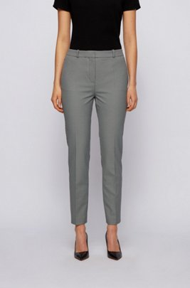 Cropped slim-fit trousers in micro-houndstooth stretch fabric, Patterned