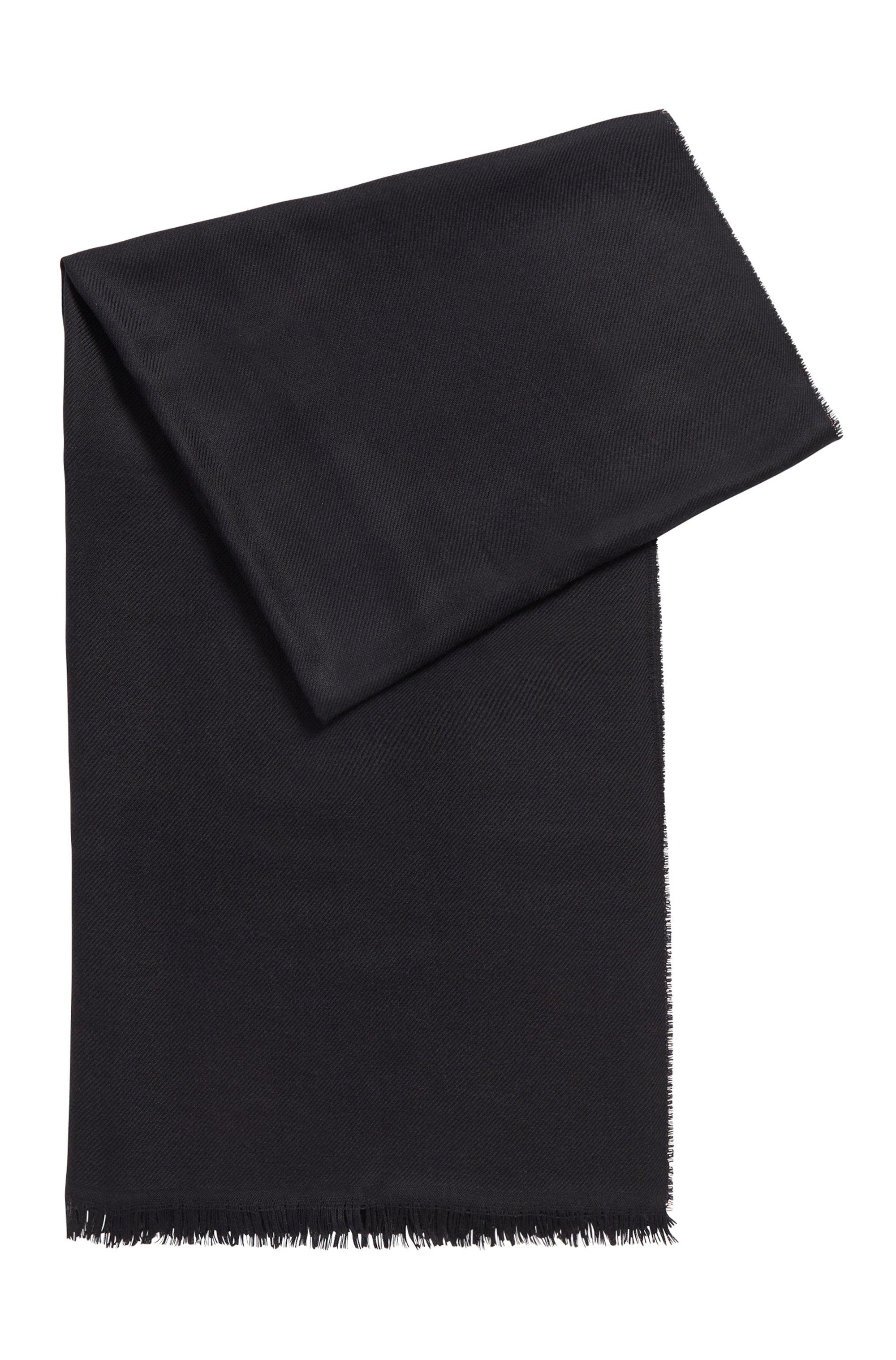 Pashmina à franges en laine vierge mélangée à de la soie, Noir