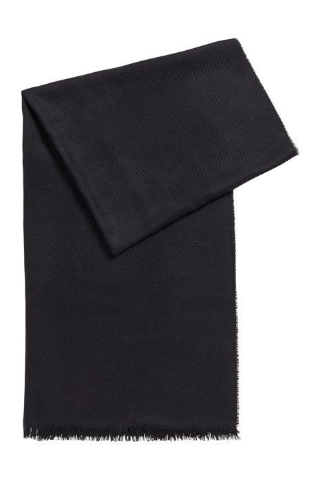 Schal aus Schurwolle mit Seide und Fransen, Schwarz