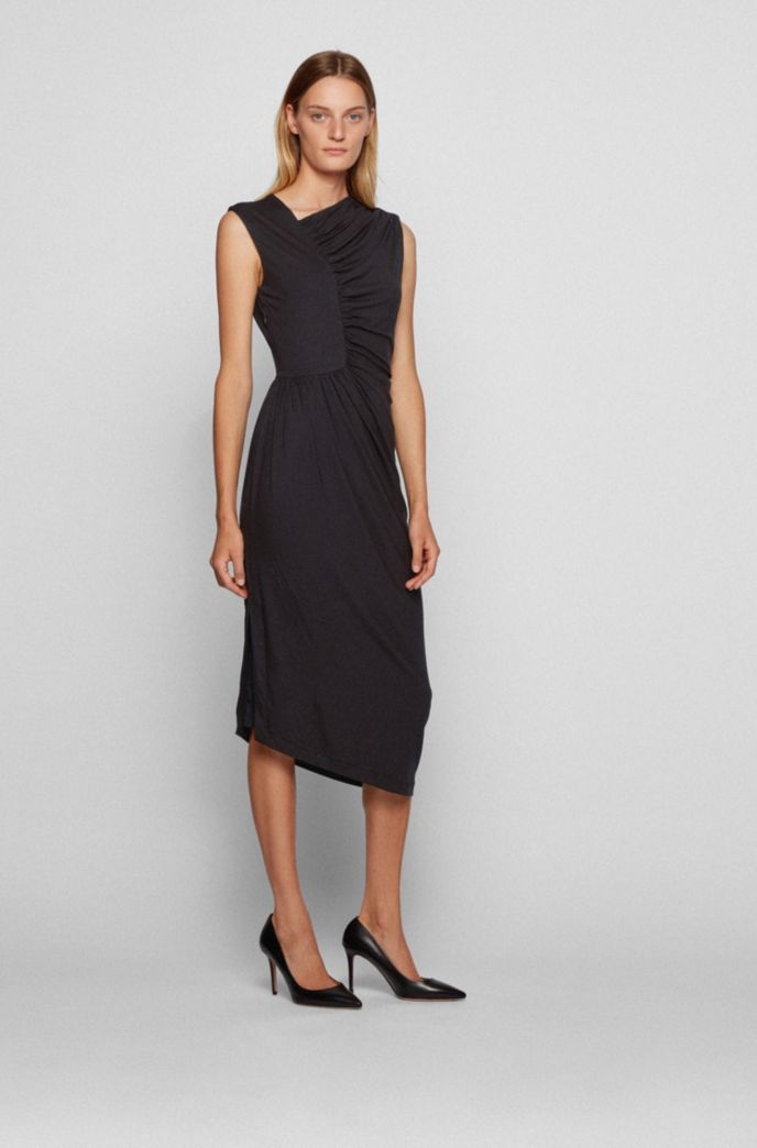 Jersey dress with gathering and asymmetric hem