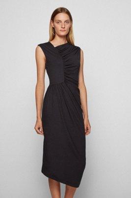 Jersey dress with gathering and asymmetric hem, Black