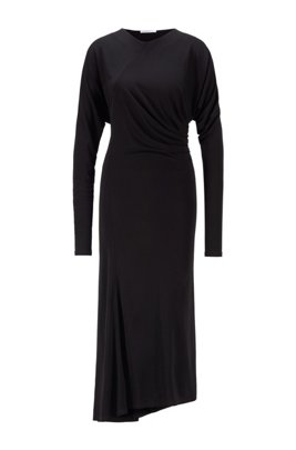 Long-sleeved dress with asymmetric hem and invisible zip, Black