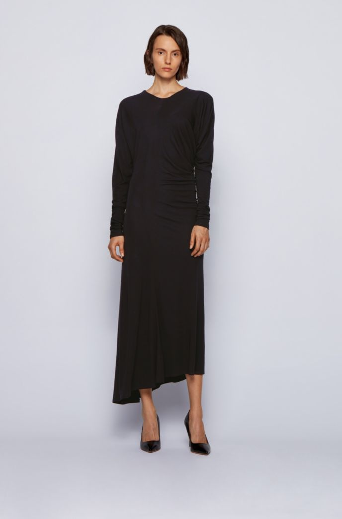 Long-sleeved dress with asymmetric hem and invisible zip
