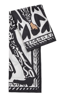 Square scarf in pure silk with collection artwork, Black
