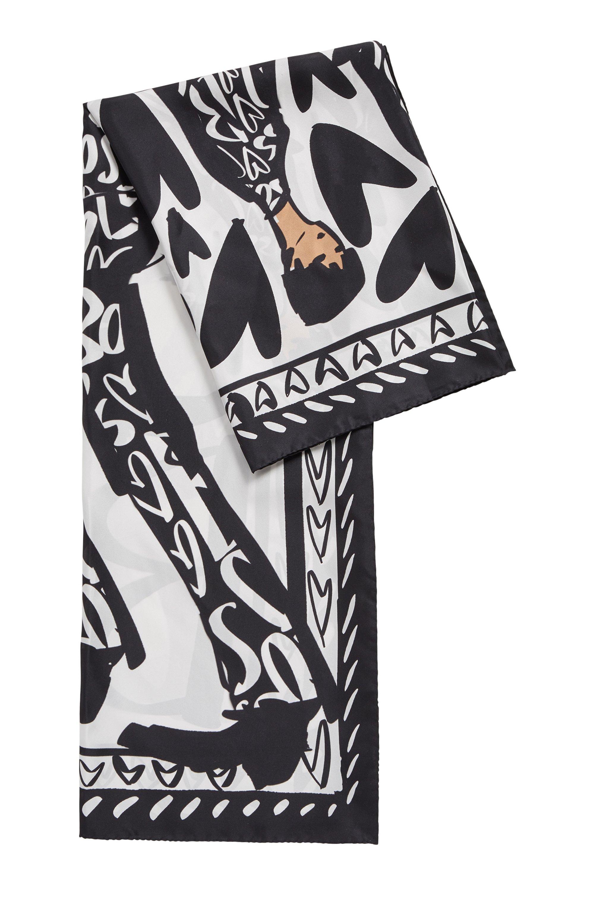Foulard carré en pure soie à motif artistique de la collection, Noir