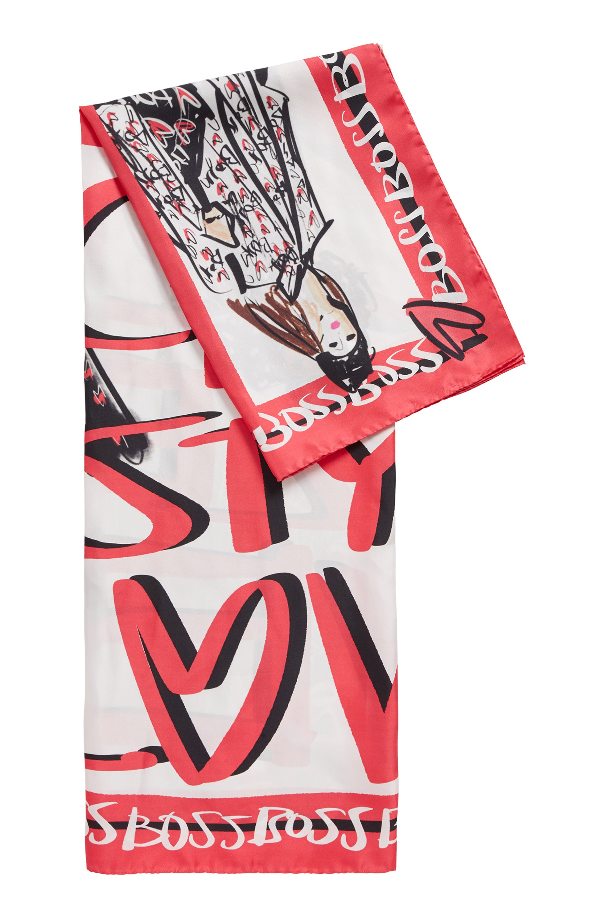 Square scarf in pure silk with collection artwork, Patterned